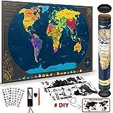 Weltkarte zum Rubbeln mit BONUS Weltwandplakate Personalisiertes Poster  Memory Aufklebe   Lupe   Rubbelchip, Geburtstagsgeschenk, Geschenk für Reisende Oder Rucksacktourismus (Schwarz   84 x 42 cm)