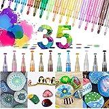 GEEDIAR Acrylstifte für Steine Wasserfest 35 Farben Permanent Marker Stifte 0.7mm & 3mm Tip Steine bemalen Set für Kinder, Papier, Glas, DIY, Leinwand, Metall, Holz, Glasmalerei, Keramik, Basteln