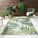 VIMODA In- und Outdoor Flachgewebe Terrassen & Balkon Küche Teppich Palmen Design Grün, Maße:80x150 cm