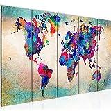 Bilder Weltkarte Abstrakt Wandbild 200 x 80 cm Vlies - Leinwand Bild XXL Format Wandbilder Wohnung Deko Kunstdrucke - MADE IN GERMANY - Fertig zum Aufhängen 013355a