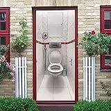 JYXJJKK Türtapete Türposter 3D Tapete PVC Fototapete Einfachheit Fliesen Kreativität Toilette 80x200 cm für Badezimmer Küche Schlafzimmer Deko Selbstklebende Bild Poster für Türen