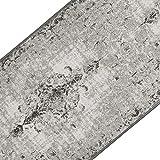 casa pura Teppichläufer im Vintage Look   brilliante Farben   hochwertige Meterware, gekettelt   Kurzflor Teppich Läufer   Küchenläufer, Flurläufer (Grau, 80x200 cm)