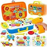 Buyger 276 Stück Mosaik Steckspiel Bohrmaschine Schrauben Spielzeug 3D Puzzle Werkzeugkoffer Bausteine für Kinder Jungen Mädchen
