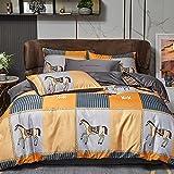 Bettbezug,Sommer Eisseide vierteilig Set, nordische Stil seidige hautfreundliche waschbare Seidebezug Einzelbett Einzelbettwäsche Geschenk-N_2.0m Bett (4 stücke)