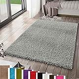 VIMODA Prime Shaggy Teppich Farbe Anthrazit Hochflor Langflor Teppiche Modern, Maße:70x140 cm