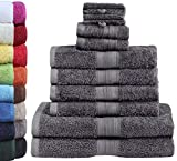 GREEN MARK Textilien 10 TLG. FROTTIER Handtuch-Set mit verschiedenen Größen 4X Handtücher, 2X Duschtücher, 2X Gästetücher, 2X Waschhandschuhe | Farbe: Anthrazit grau | Premium Q