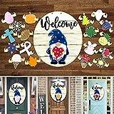 ZHOUSAN GNOME 3D-Stereo Türhänger Home Zeichen Wandbehang Saisonale Willkommensschild mit austauschbaren Feiertagsstücken Haustür Veranda hängen handgefertigt für Einweihungsgeschenke,Muttertag