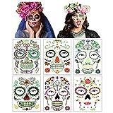 Tag der Toten Zuckerschädel Tattoos,Temporäre Halloween-Gesichtstattoos Fluoreszierende Gesichtsaufkleber für Erwachsene Kinder Maskerade Party Favor Supplies (Mehrfarbig)