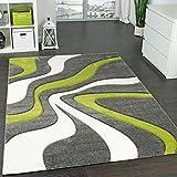 Paco Home Designer Teppich mit Konturen-Schnitt Modernes Wellen Muster in Grau Grün Creme, Grösse:160x230