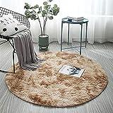 AKEFG Plüsch-Art Rund-Vorleger eleganten Chic Cozy Shaggy Rund Teppich Boden Teppichboden Vorleger Hausdekoration Luxus Fluffy Super Soft Kinderspielmatte,Khaki,100
