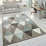 Paco Home Wohnzimmer Teppich in Pastell Farben, Moderne Rauten Dreieck u. Zick-Zack Muster, Grösse:160x230 cm, Farbe:Beig