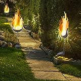 3er Set LED Solar Außen Steck Leuchten Balkon Glas Kugel Lampen Feuer Flammen Effekt Erdspieß