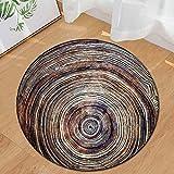 Runder Teppich Home Area Rug Baum Jährliche Ring Holzmaserung Kissen für Kinder Spielen Wohnzimmer Boden Yoga-Matte(Mehrfarbig D,Diam 60cm)