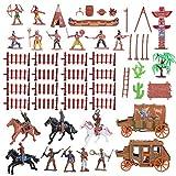 STOBOK Cowboys und Indianer Spielfiguren aus Kunststoff, Westen Cowboys und indische Modelle zur Dekoration von Sandkasten, Miniatur, Lernspielzeug für Kinder