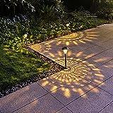 AILINY Wasserdichtes Edelstahl-Bodensteckerlicht Im Freien, Projektionsgarten-Gartendekorationslicht, Solar-LED-Rasenlicht,1PACK