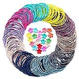 Hanyousheng Haargummis Mädchen,Elastische Haargummis, Mehrfarbig Haargummi, 200 Stück 2mm Nichtmetall Elastisch Haargummis Zopfband, 20 Stück Mini-Haarklammern für Haarfrisuren für Frauen Mädchen