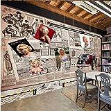 fototapete 3d effekt 450x300cm Benutzerdefinierte Fototapete Decke Tapete 3D Wohnzimmer Schlafzimmer Wallpaper Foto Poster-Kinderzimme Europäischer Stil Zeitung Frau Werbewand