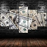 Leinwand Wandbilder -5 Teilige Leinwand Bilder 100 Dollar-Rechnungen Geldstapel Moderne Wandbild Kreatives Geschenk Wandkunst Wandbild 5 Stück Wohnzimmer Wand Wohnkultur(Mit Rahmen)