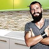 StickerProfis Küchenrückwand selbstklebend Pro STEINWAND Ashlar 60 x 280cm DIY - Do It Yourself PVC Sp