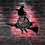 GODYS Magic Flying Broom Hexe Vinyl Record Wanduhr mit Farbwechsel Halloween LED Nachtlicht Dekoration Beleuchtung