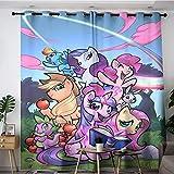 Sdustin Vorhänge mit Comic-Motiv 'My Little Pony Friendship is Magic', personalisierbar, 213 x 160 cm, wärmeisoliert, Raumverdunkelung (Polyestergewebe)