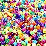 Lnvision 1000 Stück Pony Beads 6x8mm Bunte transparent Kunststoff Barrel Pony Perlen Bastelperlen sortierte mischfarbige Perlen für DIY Schmuck Herstellung