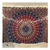 raajsee Indisch Psychedelic Mandala Blau Orange Wandteppich/Indien Baumwolle Elefant Boho Wandtuch Hippie Wandbehang 54x82 I