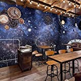 3D dreidimensionale Sternenhimmel Tapete Universum Uhr Industrial Gear Wandbild Bar Coffee Shop Restaurant Ktv Hinter 3d Tapete Wanddekoration fototapete wandbild Schlafzimmer Wohnzimmer-400cm×280cm