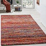 Paco Home Teppiche Modern Wohnzimmer Teppich Spezial Melierung Rot Multicolour Meliert, Grösse:80x150