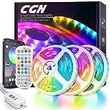 LED Streifen Bluetooth, CGN 15M LED Strip RGB 5050 Selbstklebend LED Band Musik Sync mit Fernbedienung 40 Tasten APP-Steuerung Lichterkit Beleuchtung und Dekoratives für Zuhause TV Party Festival
