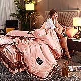 Bedding-LZ bettbezug 155x220,Bettwäsche aus gewaschener Seidenspitze rutschfeste Tagesdecke aus Frühjahrs- und Sommerseide-G_1,8 Meter (4 Stück)