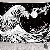Japanische Welle Wandbehang Wandteppich Große Welle Tapisserie Kanagawa Welle Wanddekoration mit Sonnenuntergang Kirschblüte Schwarz und Weiß für Wohnzimmer (59,1 x 51,2 Zoll (B x L))