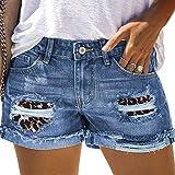 Koitniecer Lässige, zerrissene Jeansshorts für Damen Patchwork Distressed Jeans Shorts Distressed Rollsaum Shorts (Leopard, Small)