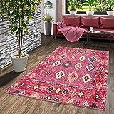 Pergamon Designer Teppich Vintage Zoe Orient Ethno Rot Pink in 5 Größ