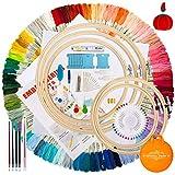 Aimego Stickerei Kreuzstich set 100 PCS Stickgarn Mehrfarbigen 5 Bambus Stickrahmen 2 Stoff Bestickt mit Tools Zubehör für Kreuzstich Stricken