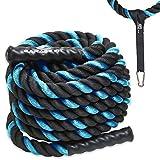 Poly Dacron Battle Rope – Workout-Seil – Übungsseile – Trainingsseile – Battle Ropes – Undulation Seile – ideal für Ihr Seiltraining (blau, 3,8 cm x 15,2 m)
