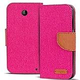 Verco Lumia 630 Hülle, Schutzhülle für Nokia Lumia 630 Tasche Denim Textil Book Case Flip Case - Klapphülle Pink