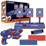 Elektronische Zielscheibe für Nerf Pistole, Digitales Ziel mit Spielzeug Pistole, 40 Schaumstoffpfeilen, Auto Rücksetzung & Wertung & Sound, Kinder Gewehr Schießspiel, Geschenk für 4-12 Jahre Junge