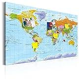 murando - deutsche Weltkarte Pinnwand & Vlies Leinwandbild 120x80 cm 1 Teilig Kunstdruck modern Wandbilder XXL Wanddekoration Design Wand Bild - Landkarte Lernkarte k-A-0151-v-a