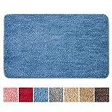 MIULEE Teppich Badematte Badezimmerteppich rutschfest Waschbar Badteppich Bettvorleger Badvorleger Saugfähige Duschvorleger Fussmatte für Wohnzimmer Schlafzimmer Badezimmer 40x60 cm Blau