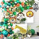 GuassLee Jungle Safari Party Ballon Girlanden Set - 151er Pack mit Tierballons und Palmblättern für Kinder Jungen Geburtstagsfeier Babyparty Dekorationen