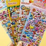 YOURPAI Kindersticker 4 Blatt 3D Puffy Bulk Stickers Zeichnung ToyCake