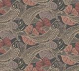 WALLCOVER Tapete Asiatisch Koi Fische Tiere Vliestapete Made in Germany Tiertapete Schwarz Rot Creme