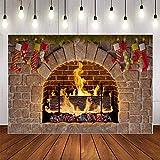 Fotografie Hintergrund Winter Kamin Holz Feuer Flamme üppige Backstein Weihnachtsfeier Dekor Hintergrund Fotostudio A3 10x7ft / 3x2.2m