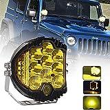 LED Arbeitsscheinwerfer, Sucastle 5 Inch 50W Bernstein Gelb Auto Scheinwerfer Side Shooter 6500K Arbeitslicht Offroad Flutlicht IP67 Wasserdicht Zusatzscheinwerfer Nebelscheinwerfer für Jeep ATV SUV