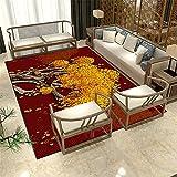 Kunsen Teppich Für Wohnzimmer Modernes rotes gelbes Bild-Guthaben_120x160 cm. tepiche Waschbare und Pflegeleichte dekorative Teppiche Wohnzimmergroßer Teppich Schlafzimmer rutschfest3ft 11''X5ft 3''