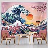 Ozean Welle Tapisserie Sonnenuntergang Tapisserie Wandbehang Japanische Kanagawa Wandteppich Große Welle Kirschblüte Natur Hintergrund Tapisserie für Japanische Party (59 x 78,7 Zoll)