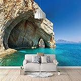 Bildschirmunterseite Marine Landschaft Blau Rocky 3D Tapete Selbstklebende Panorama Wand Unten TV 3D Tapete Königre 3d Tapete Wanddekoration fototapete wandbild Schlafzimmer Wohnzimmer-300cm×210cm