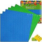 NextX 6 Stück Platten - Bauplatte Set für Classic Bausteine mit Meisten Marken Grundplatte 25 x 25 cm Grundplatte 3 blau+3Grü
