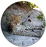 30,5 cm runde Wanduhr batteriebetrieben nicht tickend mit arabischen Ziffern, Geparden-Uhr, Heimdekoration
